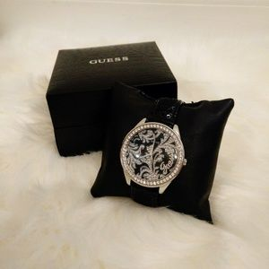 Guess Black & Silver Floral Crystal & Sequin Watch